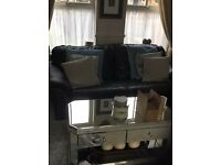 Navy 3 seater leather sofa