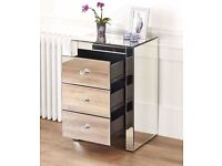 Venetian Mirrored 3 Drawer Bedside Table New In Box