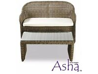 2 Seater Garden Sofa and Coffee Table Set - Asha (with Cover)