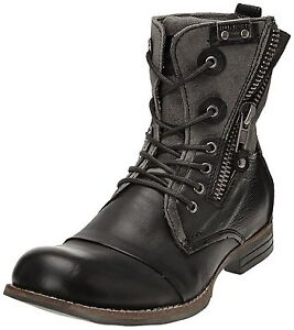BUNKER POR BLACK CAMBAT LEATHER BOOTS, Size 9-9.5 New!