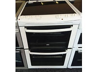 b703 white zanussi 60cm double oven ceramic electric cooker comes with warranty can be delivered