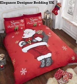 santa stop here bedding