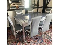 BRAND NEW EXTENDABLE DINING TABLE WITH 4&6 CHAIRS IN STOCK
