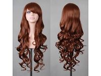 Brown Long Hair Full Wig Curly Wavy Straight Hair Brand new.