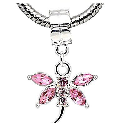 Pink  Crystal Dragonfly Charm Dangle European Bead Compatible for Most European  ()