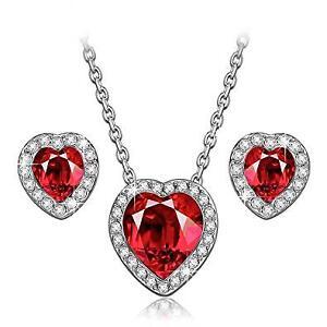 SWAROVSKI Red Crystal Heart Necklace Earrings Set