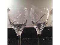 2 waterford crystal wine glasses