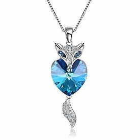 Silver & Sapphire Fox necklace encrusted with cubic zircona diamonds - Brand New & in gift box