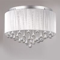 Crystal silver shade chandelier