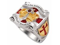 Masonic Knight Templar Cross and Crown Mason Ring Unique Design 18kt Gold Plated 45 Grams Solid