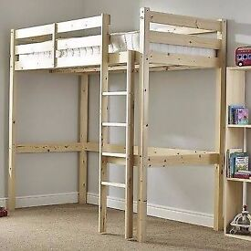 3 feet High sleeper solid pine loft bed for adult / child