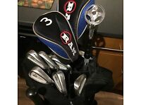 Set of golf clubs and extras