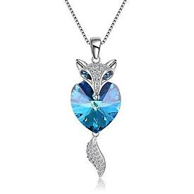 Silver & Sapphire Fox necklace encrusted with cubic zircona diamonds - Brand New & in gift box!