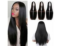 Womens Straight Full Wig Black Long Hair Synthetic wig heat resistance