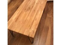 Solid oak coffee table with hair pin legs
