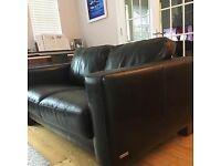 2 Italian leather sofas dark brown