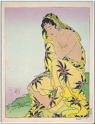 Antique Paul Jacoulet Death of the Parakeet Ukiyo-e Nishiki-e Woodblock Print segunda mano  Embacar hacia Argentina