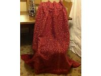 LAURA ASHLEY CHENILLE HEAVY PROFESSIONALLY MADE SINGLE DOOR CURTAIN CRANBERRY & GOLD
