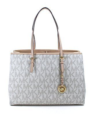 MICHAEL KORS Jet Set Logo Travel Tote Vanilla