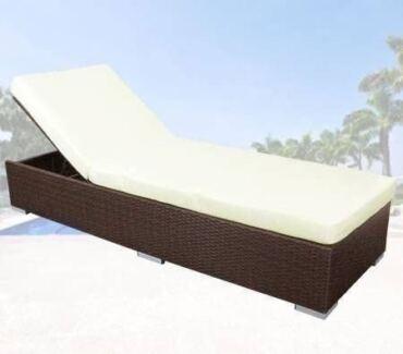 Adjustable Outdoor Rattan Lounge Bed