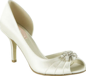 Paradox London - White Satin Pumps with Crystal Detail
