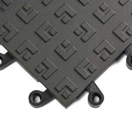 "Wearwell 562 Black Interlocking Antifatigue Mat 18"" W X 18"" L, 7/8"", Vinyl"
