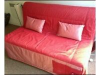 Red Denim Ikea Lycksele Double Sofa Bed Settee Futon Couch Daybed possible delivery