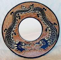 Hand Carved Wooden Framed Mirror from Bali - Dragon design
