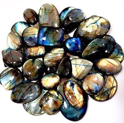Natural Chatoyant Labradorite Gemstone Rare Cabochon Wholesale Lot 30Pcs 2000Cts