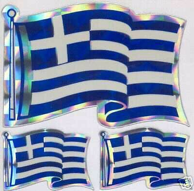 Greece, Ellás-Hellenic Repubic TriFlag Sticker LOT  NEW