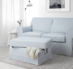 IKEA EKTORP Sofa (Love seat) and Foot Stool in Light Blue - $350