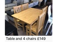 NEW pine dinning table and chairs