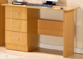 3 Drawer Desk / Dressing Table, Oak Effect