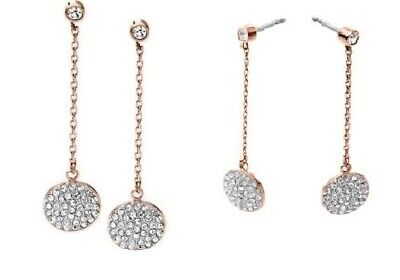 NEW MICHAEL KORS 2 TONE ROSE GOLD CHAIN+SILVER PAVE DISC EARRINGS MKJ3899