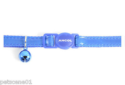 Ancol Blue shiny Gloss Reflective Cat Collar with Bell