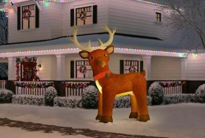 Christmas Gemmy 10.5 ft Giant Sized LED Fuzzy Feel Reindeer Airblown Inflatable