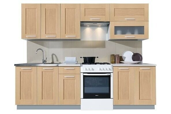 Set of Kitchen Cabinets Ready to Assemble Color: Bleach Oak