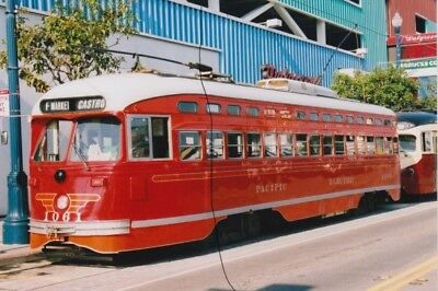 TRAM/BUS PHOTO PHOTOGRAPH OF A USA STREET CAR PICTURE IN RED PACIFIC ELECTRIC.