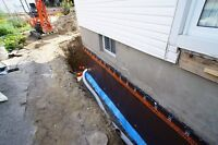 Waterproofing foundation crack repair and regrading