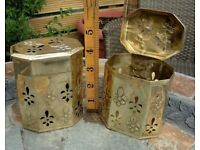 PAIR OF BRASS ORNATE TRINKET BOXES NEEDS CLEANING