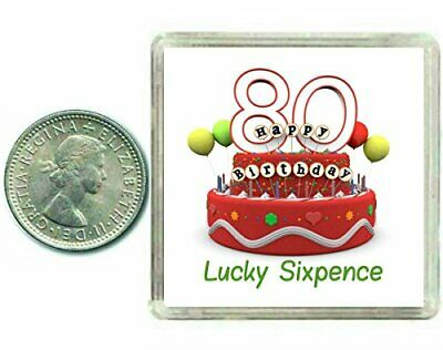 80th Birthday Lucky Sixpence Gift, Great good luck present idea for man or woman ()