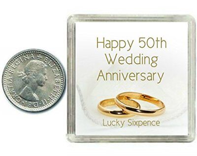 Lucky Sixpence Coin 50th Golden Wedding Anniversary Gift, great present idea