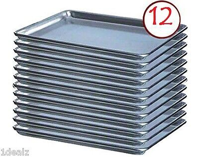 "Baking Sheet Pans 18"" x 26"" Full Size Aluminum Bun Pan Set of 12 Wire in Rim"