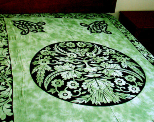 Green Man Bedspread, Green: Tapestry, Wall Hanging or Altar Cloth 72 x 108