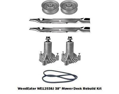 """38"""" Mower Deck Rebuild Kit Fits Weedeater WE12538J Blades Spindles Pulleys (113)"""