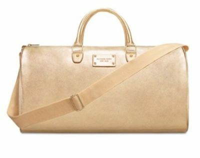 MICHAEL KORS gold duffle leather travel gym weekender overnight shoudler bag NEW