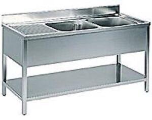 Lavello lavatoio lavandino acciaio inox 2 vasche dx for Lavandino acciaio inox