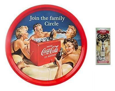 Coca Cola Coke Family Friendly Circle Bar Tray & 3D Bottle Shaped Bottle Opener