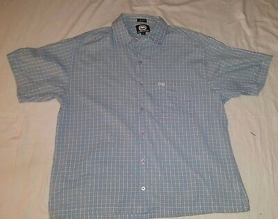 Ecko Unlimited Woven Shirt Blue Yellow Checked Short Sleeved Button Down Large