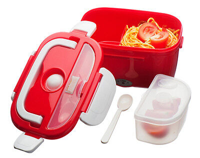 Red Electric Heated Portable Compact Food Warmer Lunch Travel Bento Box 40W 1.5L